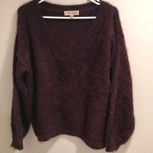Philosophy Fuzzy Burgundy Sweater